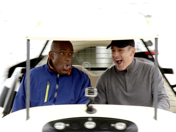 Today Show ride in hovering golf cart
