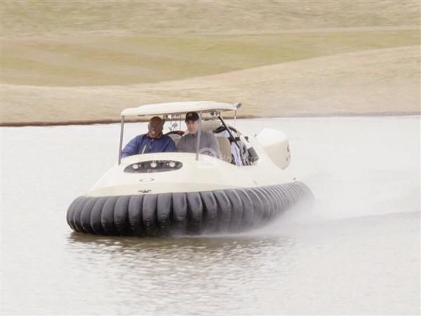 Hovercraft golf cart flies over water hazards