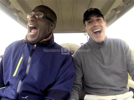 Matt Lauer Al Roker fly Bubbas Hover hovercraft golf cart