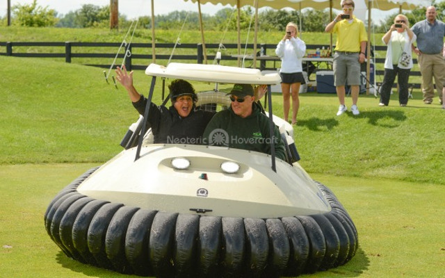 Nancy Lopez in Neoteric Hovercraft Golf Cart