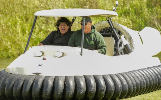 Nancy Lopez in Bubba's Hover BW1 golf cart