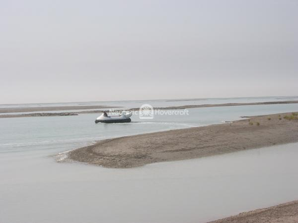 Neoteric commercial hovercraft utilized in Kuwait intertidal zone