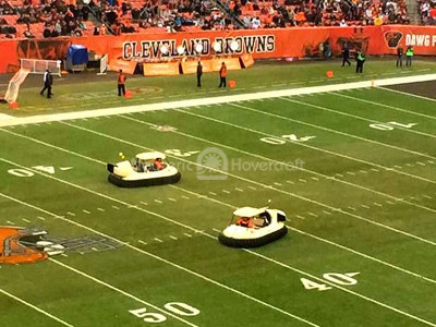 Photo hovercraft golf cart halftime show FirstEnergy Stadium Cleveland Browns