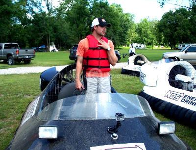 Hovercraft Video Ricky Stenhouse NASCAR Hovercraft race Danica Patrick T.J. Patrick