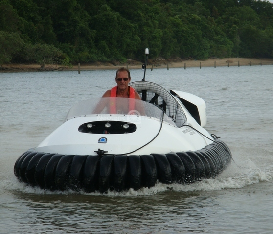 Image kit hovercraft in action on water