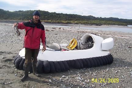 The Hovertrek used for fishing at the mouth of the Whataroa River