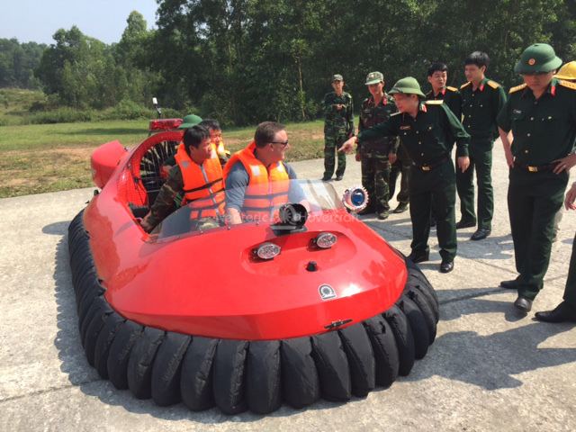 Viet Nam People's Army military hovercraft flight training videos