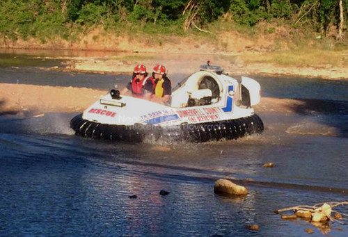 Rescue hovercraft image, River rescue boat, Swift water rescue boats, Brazos River, Somervell County Fire Department Neoteric hovercraft