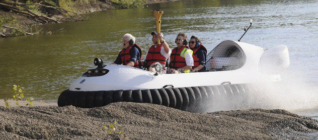 Hovercraft image Indiana Bicentennial Torch Relay