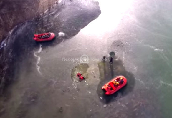 Drone video Neoteric Hovercraft ice rescue operations