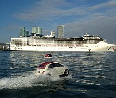 Image Fiat 500 hovercraft MSC Divina cruise ship