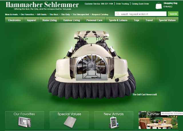 Hammacher Schlemmer catalog Neoteric Hovercraft Golf Cart