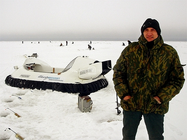 Hovercraft used for Ice Fishing in Russia