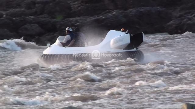 Hovercraft Handles Rapids on the Chenab River, India