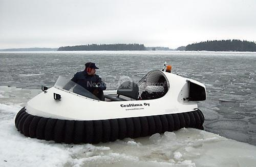 Recreational Hovercraft Transitions from Broken Ice to Snow