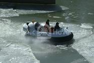 Image Recreational Hovercraft on thin broken ice