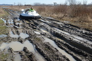 Photo Hovercraft on mud in Russia